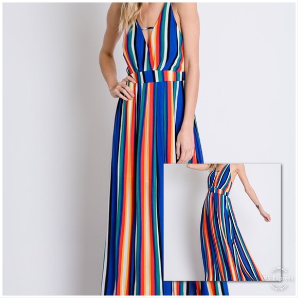 Dresses & Skirts - SMALL ONLY BOLD Stripe Open Back Maxi